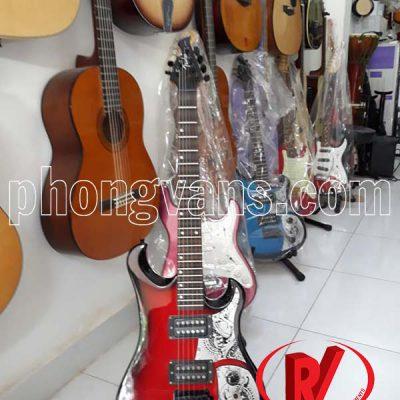 Đàn ghita cổ điện phím lõm màu đỏ viền đen