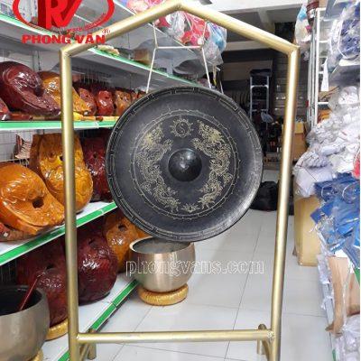 Cồng chiêng đồng trạm rồng chầu mặt nguyệt 60 cm