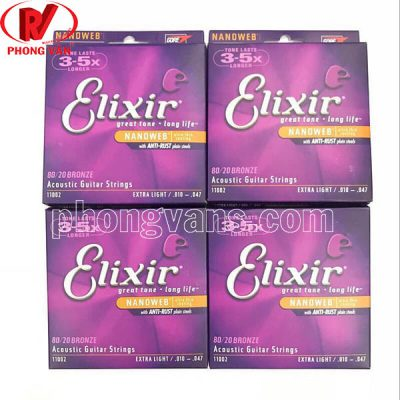 Bộ dây Elixir 11002 80/20 Bronze Acoustic Guitar Strings Extra
