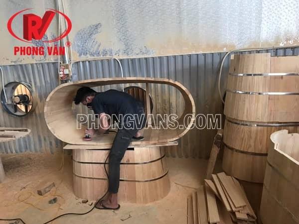 Bồn tắm gỗ pơ mu cao cấp 1m7 170cm