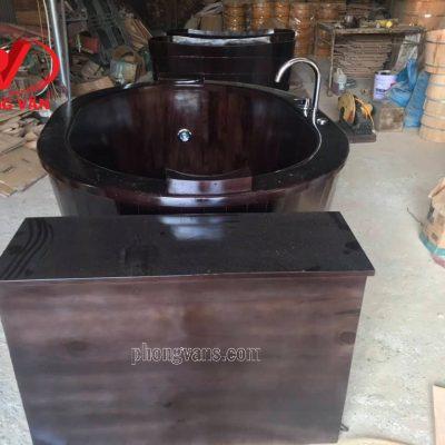 Bồn tắm gỗ sục khí tròn massage