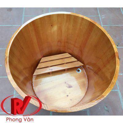 Thùng tắm gỗ dáng tròn