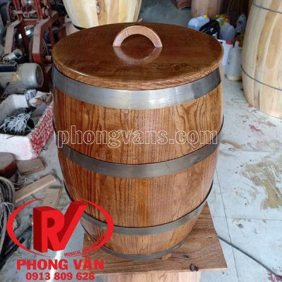 Thùng gỗ sồi trưng bày cao 40 cm 4 tấc