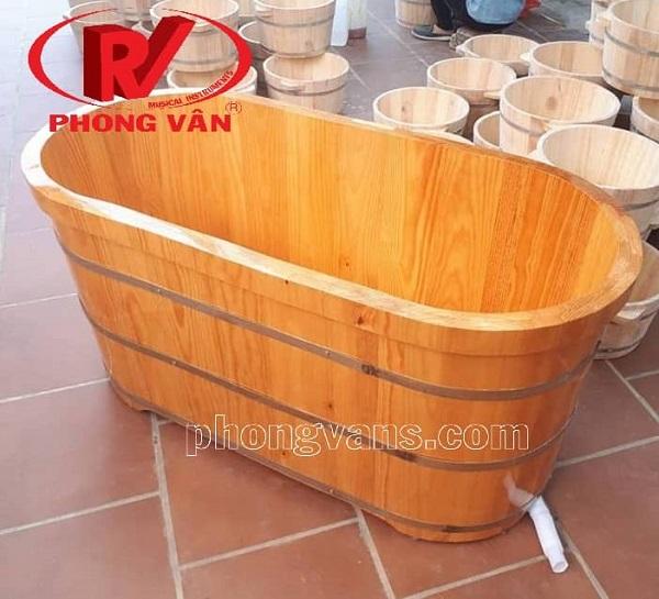 Thùng tắm gỗ thông dài 150cm 1m5
