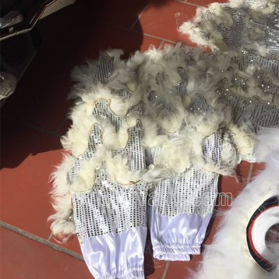 Bộ đầu múa lân lông cừu màu trắng