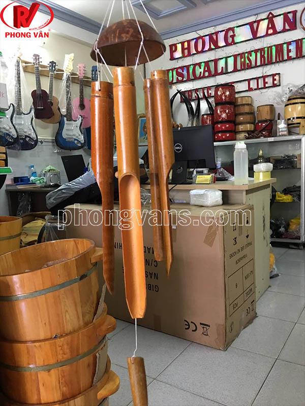Chuông gió bằng nứa chóp dừa nhỡ 5 ống