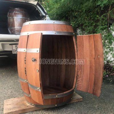 Tủ rượu thùng gỗ sồi trang trí màu cánh gián