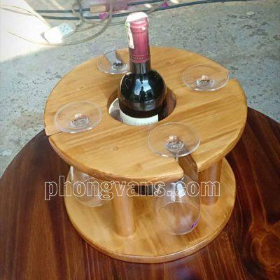 Kệ gỗ để chai rượu và ly
