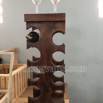 Kệ gỗ thông để chai rượu