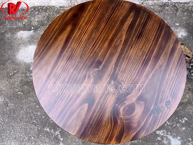 Mặt bàn gỗ thông tròn 60cm màu giả cổ