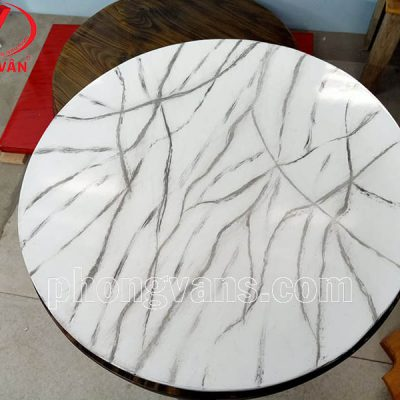 Mặt bàn gỗ thông tròn giả đá trắng