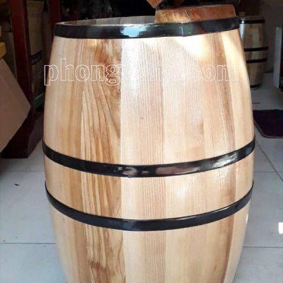 Thùng gỗ sồi đựng gạo 30 kg