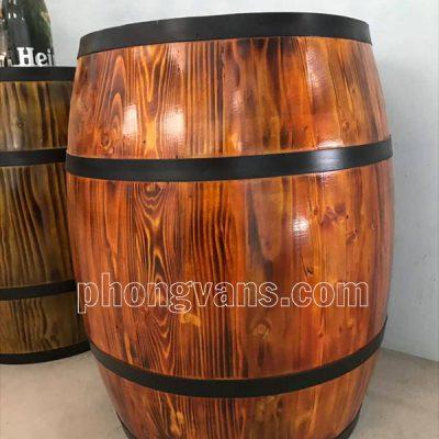 Thùng gỗ trang trí sơn màu giả cổ vân gỗ 50x70cm