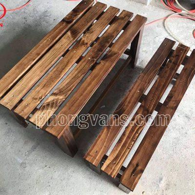 Bộ bàn ghế cafe gỗ thông