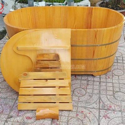 Bồn tắm xông hơi gỗ thông có nắp đậy