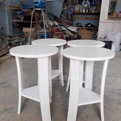 Ghế cafe bar gỗ thông màu trắng