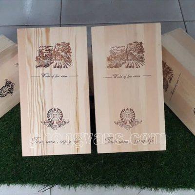Hộp gỗ thông đựng hai chai rượu
