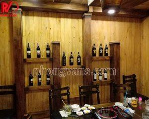 Nhận ốp gỗ thông trần nhà vách phòng hầm rượu vang