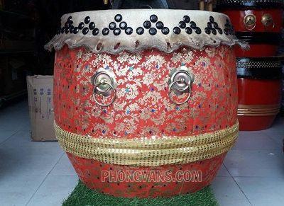 Trống múa lân Trung Quốc 6 tấc màu đỏ