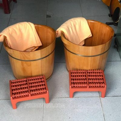 Bồn ngâm chân gỗ sồi cao 35 cm