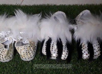 Giày móng múa lân trắng lông cừu