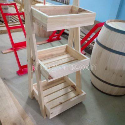 Kệ để trưng bày trái cây 3 tầng gỗ thông