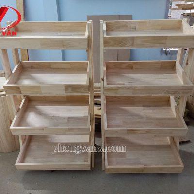 Kệ gỗ đựng đồ trái cây gỗ thông