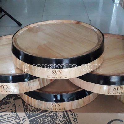 Mặt thùng gỗ trang trí khắc chữ laser
