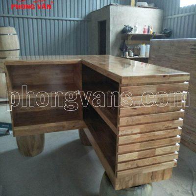 Quầy bàn tính tiền chữ L gỗ cao su