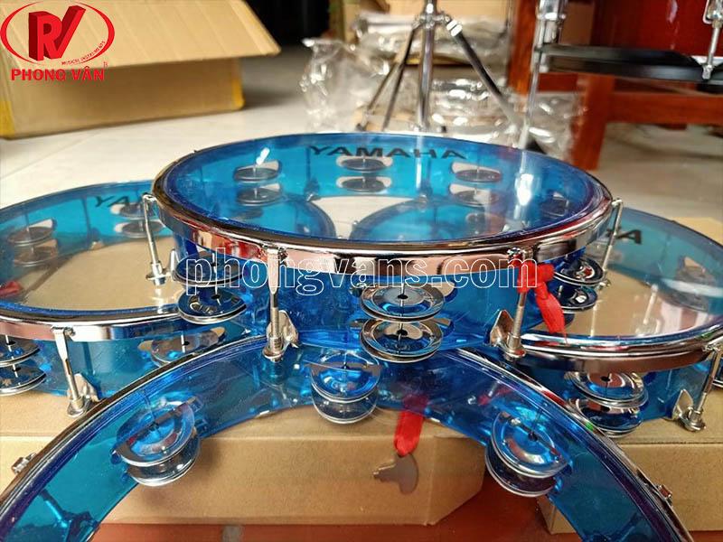 Trống tambourine lắc tay cao cấp màu đỏ xanh