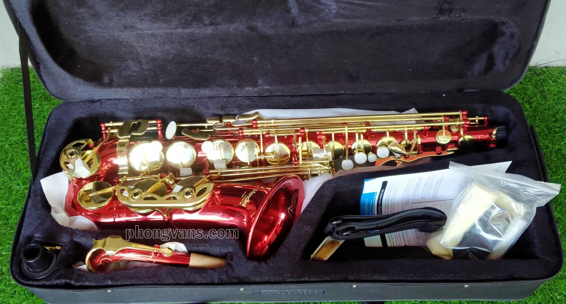 Kèn Saxophone alto hãng Mendini by Cecilio Mỹ màu đỏ