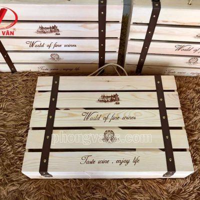 Hộp gỗ cao cấp đựng sáu chai rượu vangdata-cloudzoom =