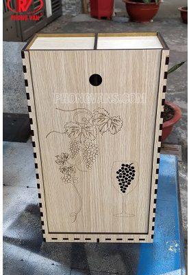Hộp gỗ đựng hai chai rượu vang