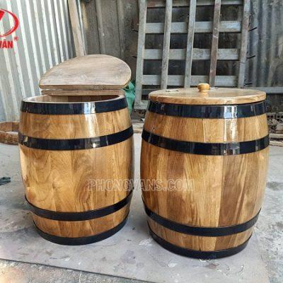 Thùng đựng gạo gỗ sồi 20 kg
