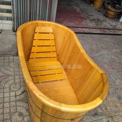 Bồn tắm gỗ pơmu bo viền dài 1m3