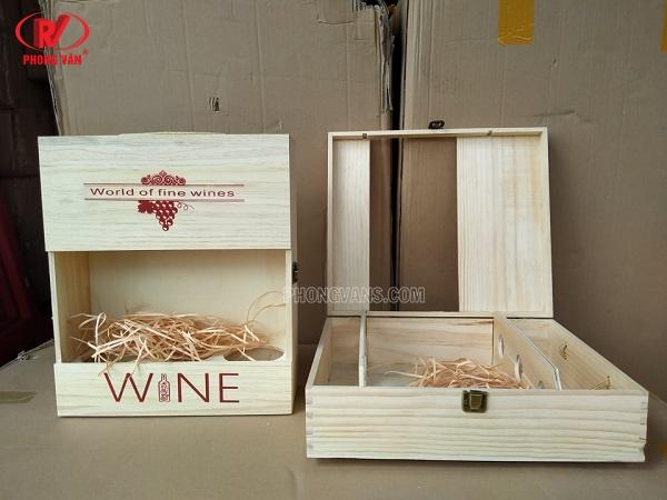 Hộp gỗ đựng rượu vang 3 chai