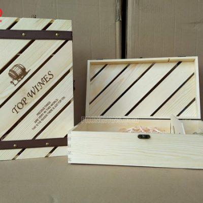 Hộp gỗ rượu vang giá rẻ hai chai