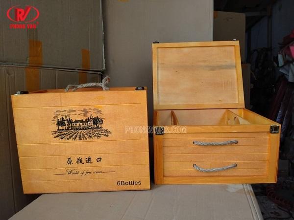 Hộp rượu gỗ để 6 chai vang cao cấp