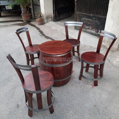 Bộ bàn ghế thùng rượu gỗ đẹp