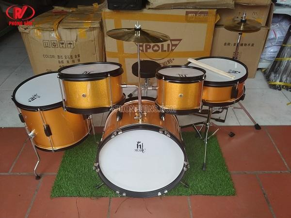Bộ trống jazz Ht music màu vàng cho trẻ em