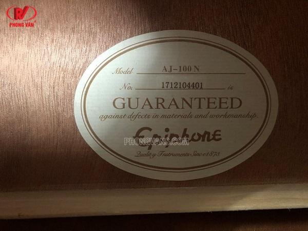 Bán đàn guitar acoustic Epiphone AJ-100N dáng khuyết