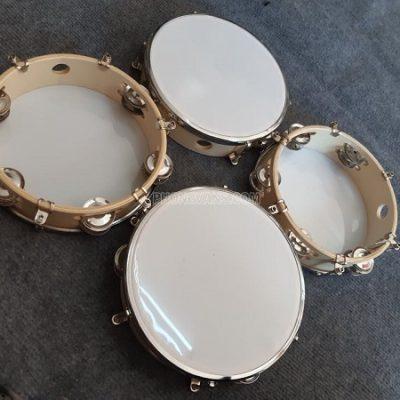 Trống lục lạc tambourine cầm tay 20cm mặt meka