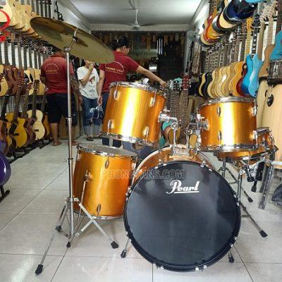 Dàn trống nhạc jazz Pearl màu vàng nghệ