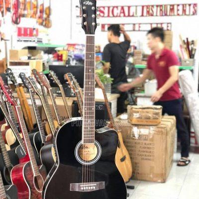 Đàn Guitar acoustic Aria thùng mỏng có EQ màu đen