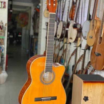 Đàn guitar classic dáng khuyết cutaway gỗ hồng sắc