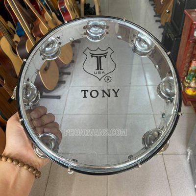 Trống lắc tay tambourine hiệu Tony mặt xanh trong