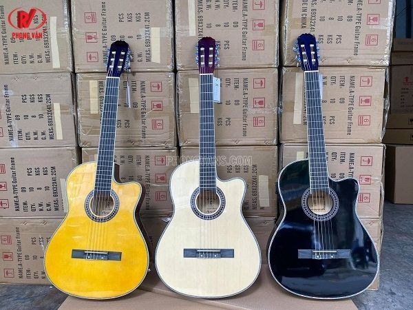 Bán sỉ đàn guitar classic thùng mỏng gắn EQ 7545 HT MUSIC