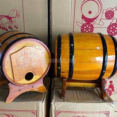 Trống gỗ đựng rượu vang 5 lít màu vàng