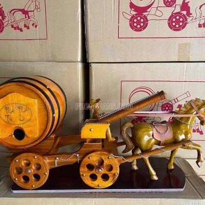 Xe ngựa đơn 1 pháo kéo thùng rượu màu vàng